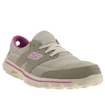 womens skechers light grey gowalk 2 stance trainers