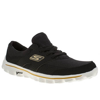 Skechers Black & Gold Go Walk 2 Stance Trainers
