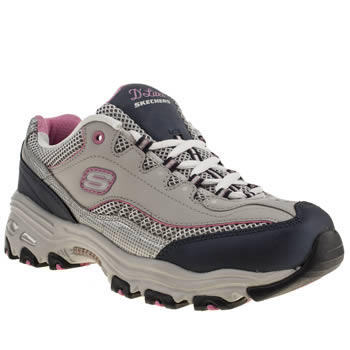 womens skechers navy & grey dlites centennial trainers