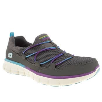 womens skechers dark grey synergy loving life trainers