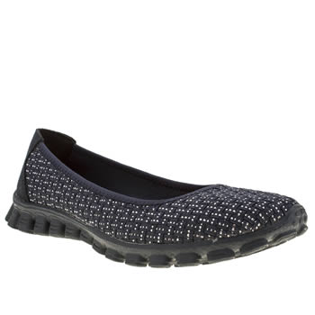 womens skechers navy & silver ez flex 2 illuminate trainers