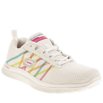 Womens Skechers White Flex Appeal Something Fun Trainers