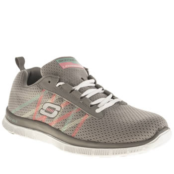 Womens Skechers Grey Flex Appeal Something Fun Trainers
