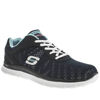 Womens Skechers Navy Flex Appeal First Glance Trainers
