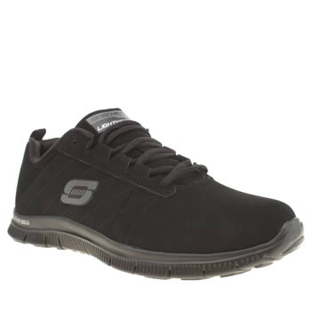 Womens Skechers Black Flex Appeal Black Jack Trainers