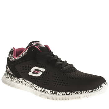 Skechers Black & White Flex Appeal Flowers Trainers