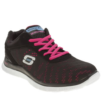 Skechers Black & pink Flex Appeal First Glance Trainers