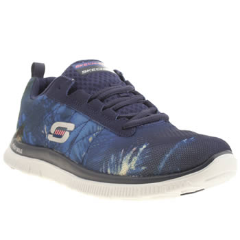 Skechers Navy & White Flex Appeal Trade Winds Trainers
