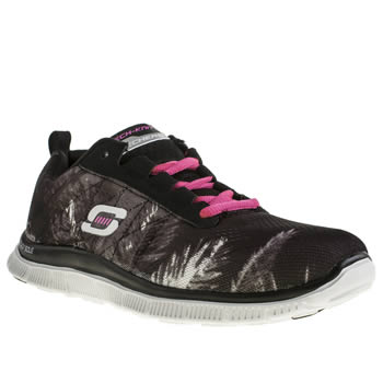 Skechers Black & White Flex Appeal Trade Winds Trainers