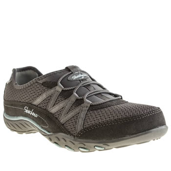 womens skechers dark grey breathe easy relaxation trainers