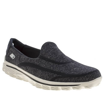 womens skechers navy & white go walk 2 super sock trainers