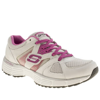 Skechers White & Pink Agility New Vision Trainers