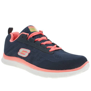 Womens Skechers Navy & White Flex Appeal Sweet Spot Trainers