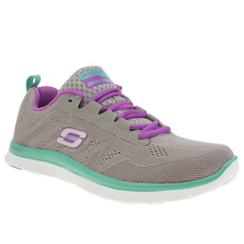 Womens Skechers Dark Grey Flex Appeal Sweet Spot Trainers