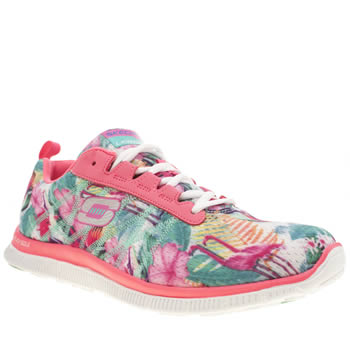 Womens Skechers Pink Flex Appeal Floral Bloom Trainers
