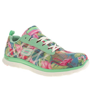 Womens Skechers Turquoise Flex Appeal Floral Bloom Trainers