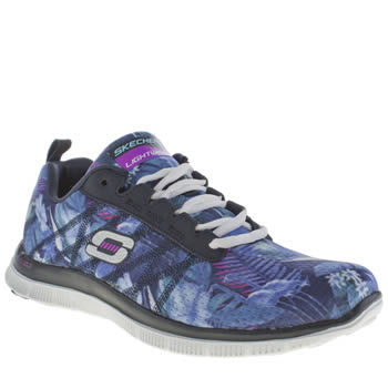 Womens Skechers Navy & White Flex Appeal Floral Bloom Trainers
