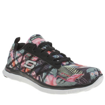 Skechers Black & Pink Flex Appeal Floral Bloom Trainers