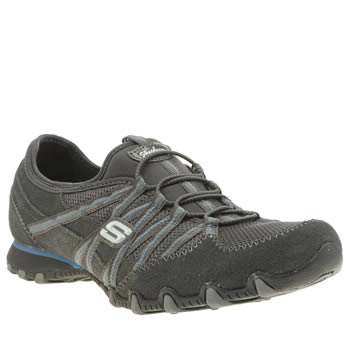 Womens Skechers Dark Grey Bikers Quick Step Trainers