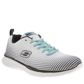 Womens Skechers White & Black Equalizer Expect Miracle Trainers