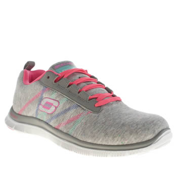 Womens Skechers Light Grey Flex Appeal Miracle Work Trainers