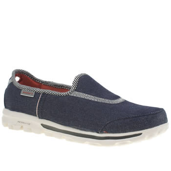 Skechers Navy & White Go Walk Prime Trainers