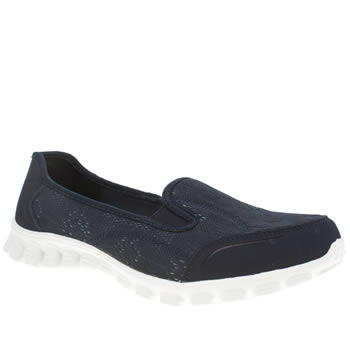 Skechers Navy & White Ex Flex 2 This Kiss Trainers