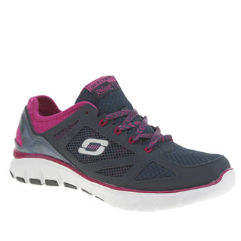 Skechers Navy & White Flex Royal Forward Trainers