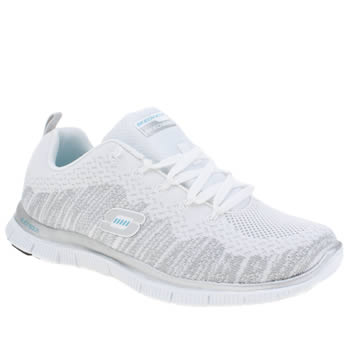 Skechers White & Silver Flex Appeal Instant Hit Trainers