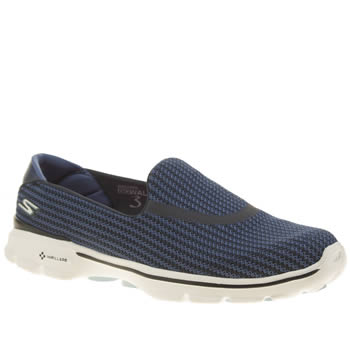 Skechers Navy & White Go Walk 3 Trainers