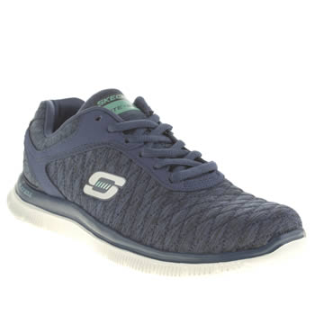 Skechers Navy & White Flex Appeal Eye Catcher Trainers