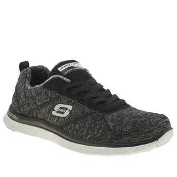 Skechers Black & Grey Flex Appeal Pretty City Trainers