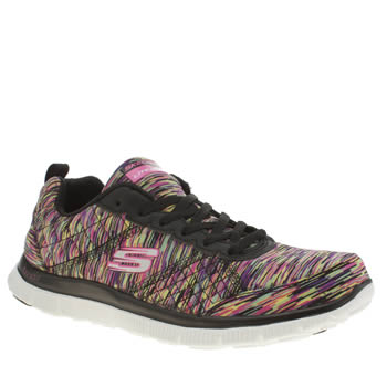 Skechers Black & pink Flex Appeal Whirl Wind Trainers