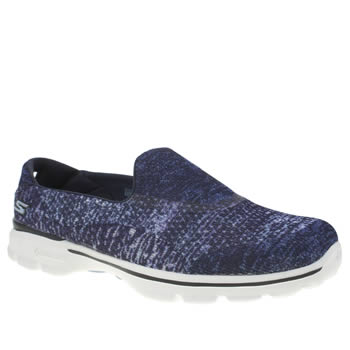 Skechers Navy & White Go Walk 3 Glisten Trainers