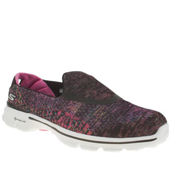 Skechers Black & pink Go Walk 3 Glisten Trainers