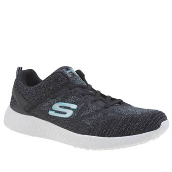 Skechers Black & White Burst Womens Trainers