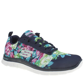 Skechers Navy & White Flex Appeal Wildflowers Womens Trainers