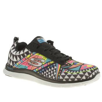 Skechers Black & White Skech Flex Appeal Arrowhead Trainers