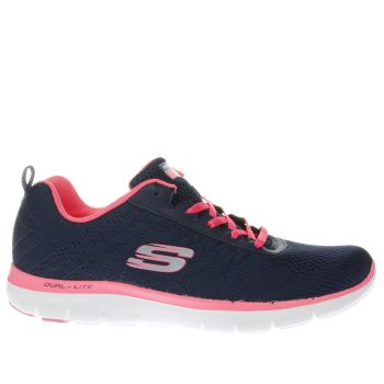 Skechers Navy & White FLEX APPEAL 2.0 BREAK FREE Trainers