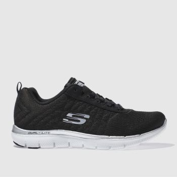 Skechers Black & White Flex Appeal 2-0 Break Free Trainers