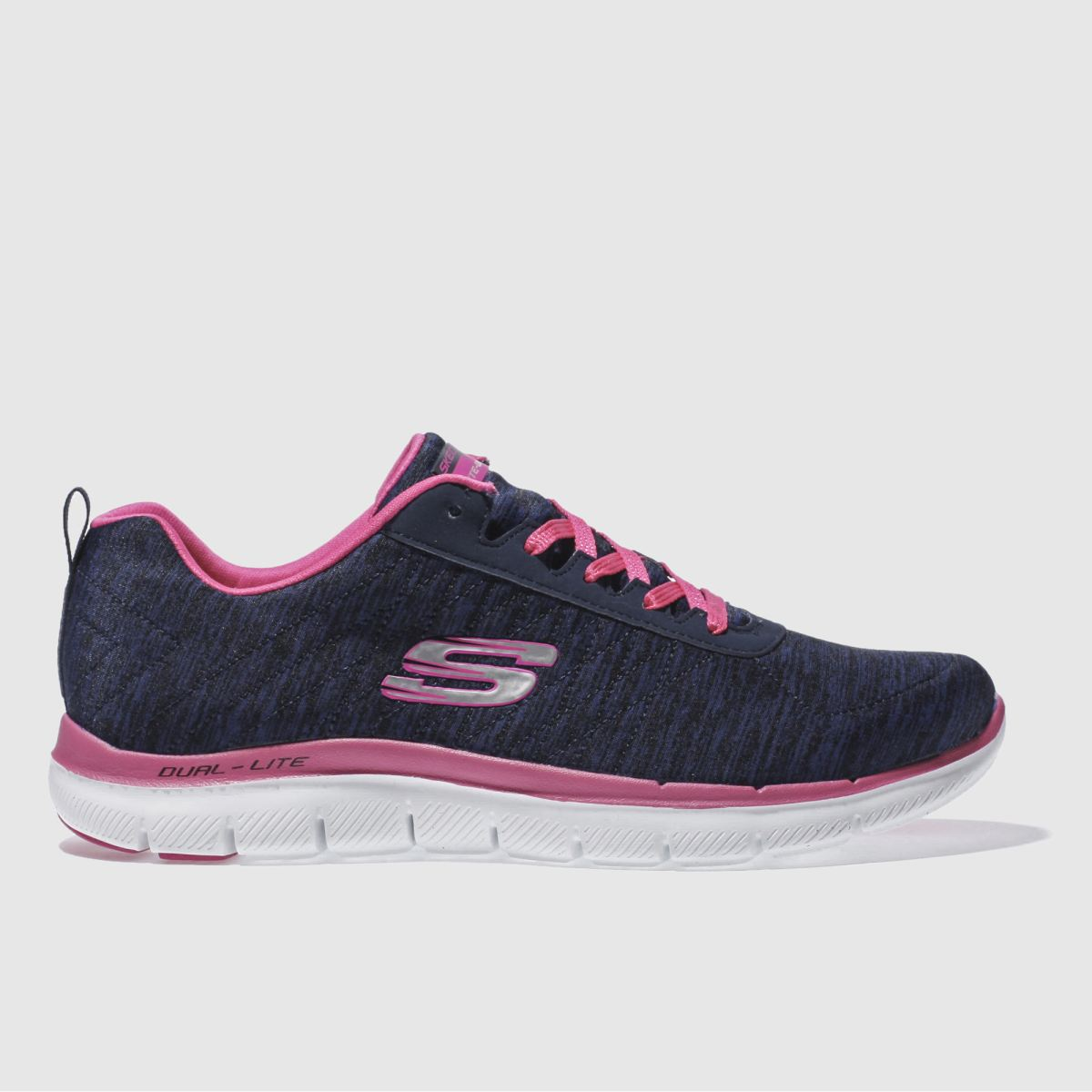 skechers navy & white flex appeal 2-0 trainers