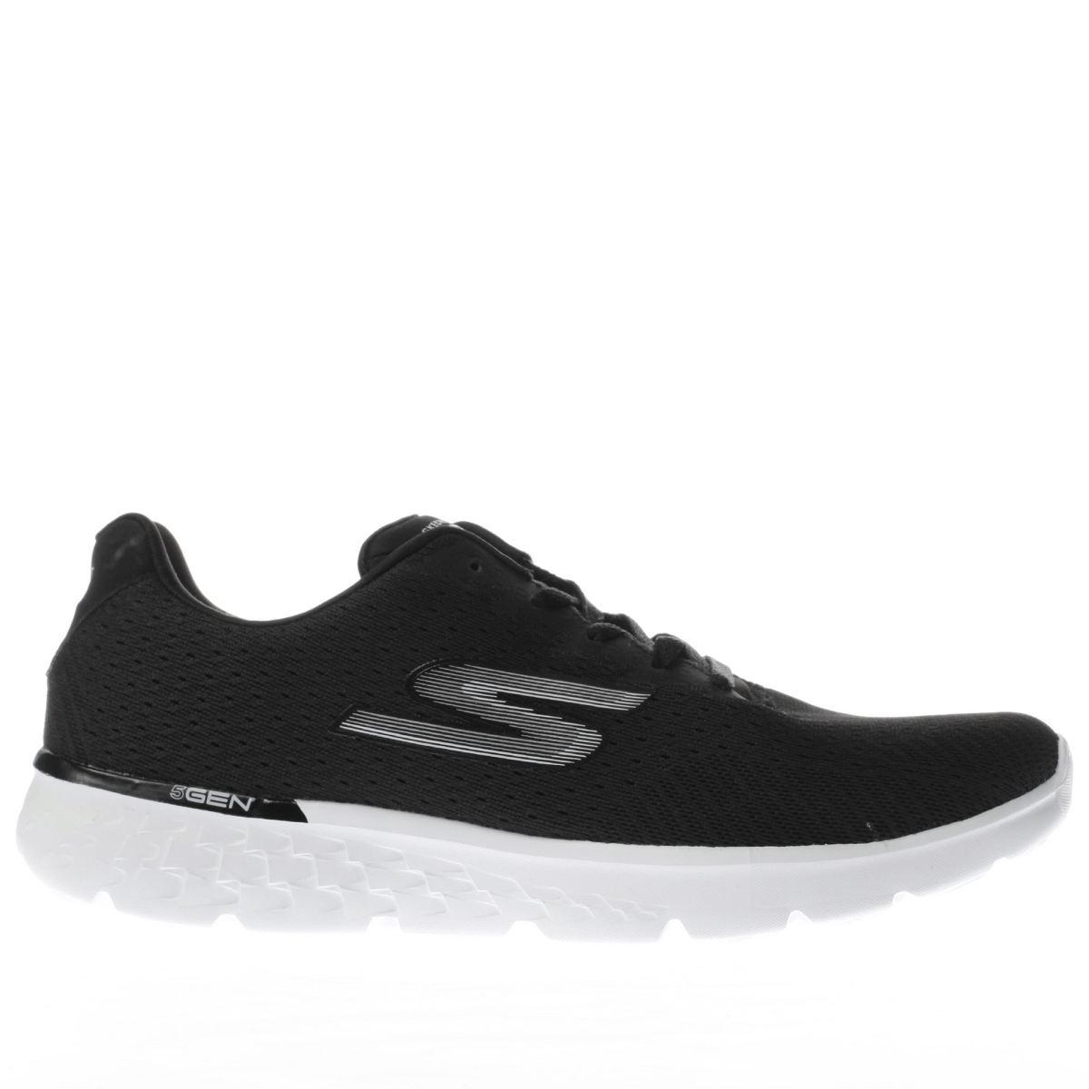 skechers black & white go run 400 sole trainers