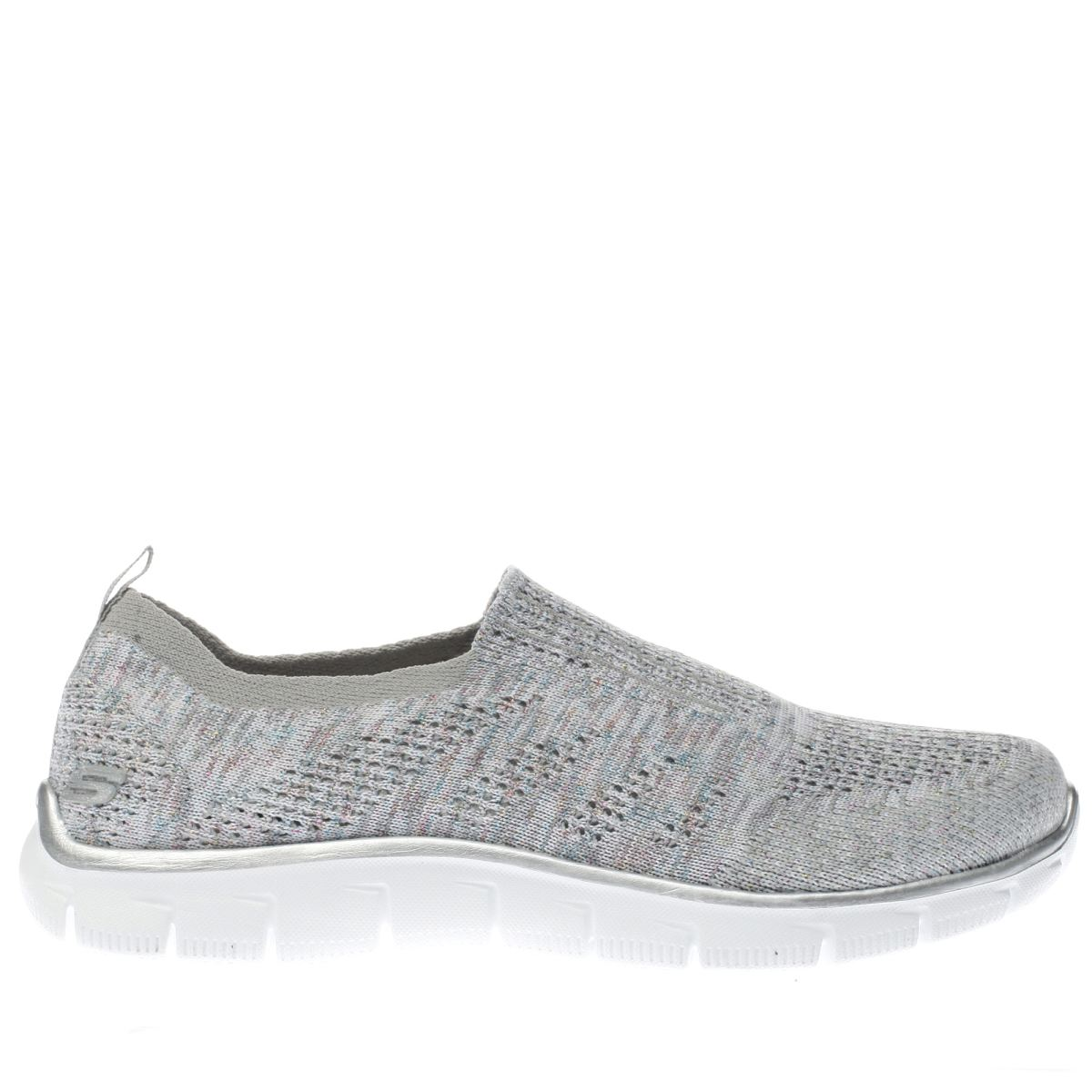 skechers light grey empire round up trainers