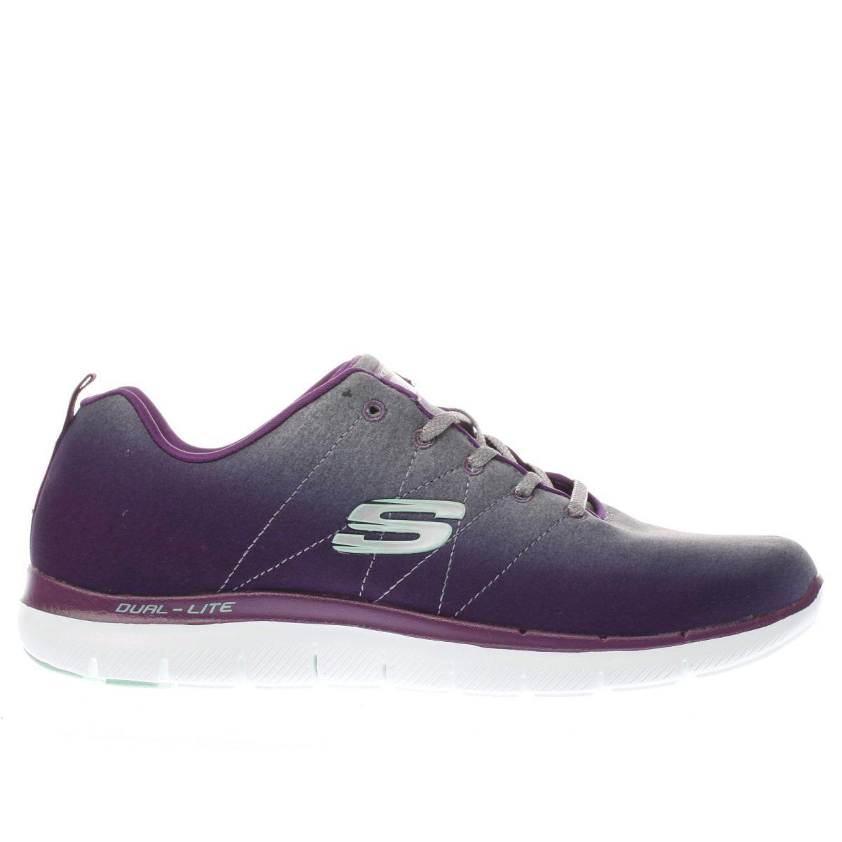 skechers grey & purple flex appeal 2.0 bright trainers
