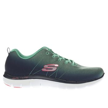 SKECHERS NAVY & GREEN FLEX APPEAL 2.0 BRIGHT TRAINERS