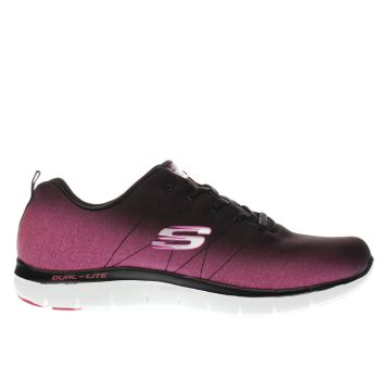 Skechers Black & pink Flex Appeal 2-0 Bright Trainers