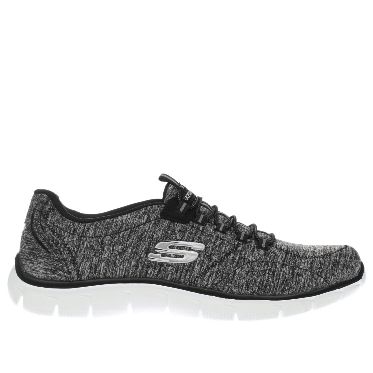 skechers black & white empire heart to heart trainers