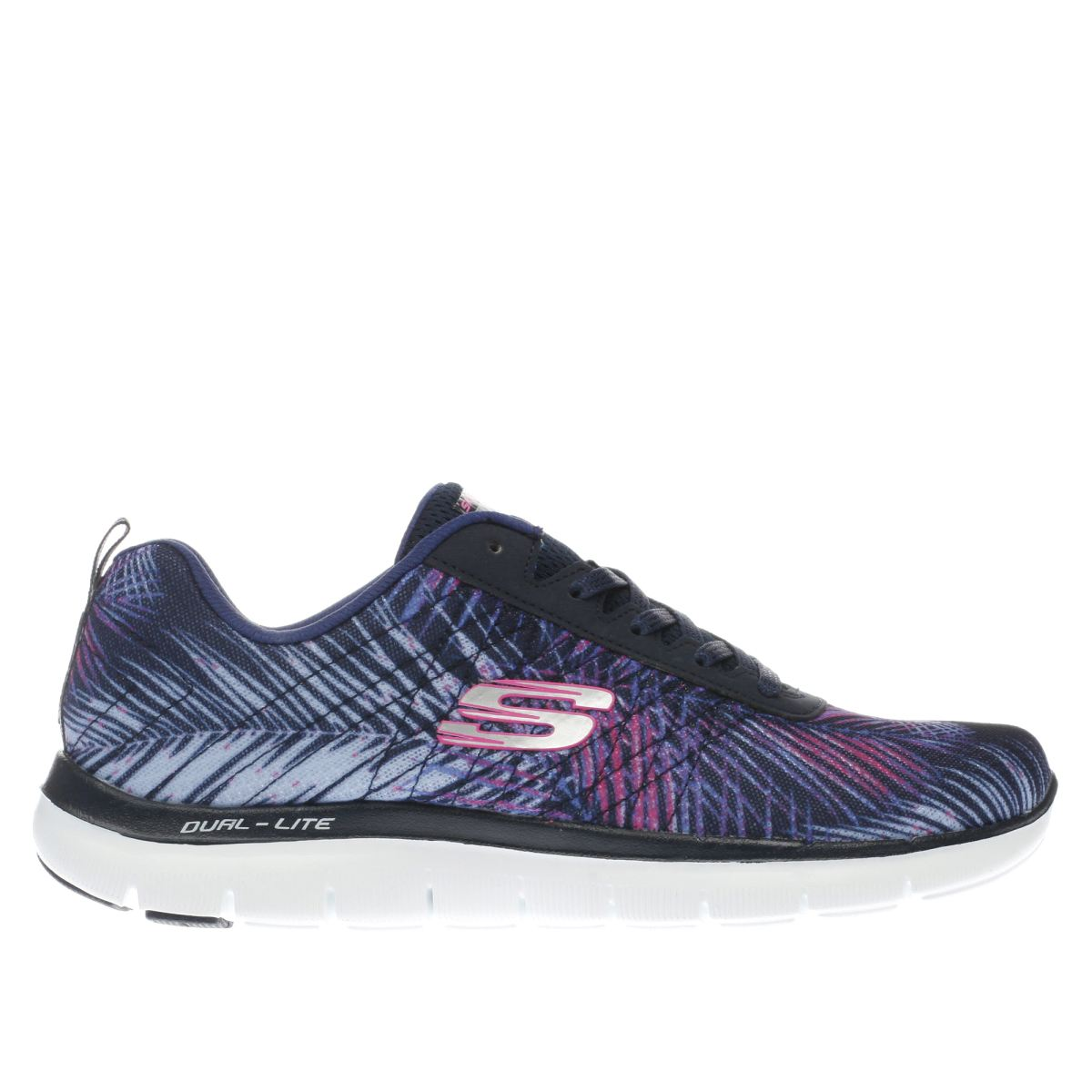 skechers navy & white flex appeal 2.0 tropical trainers