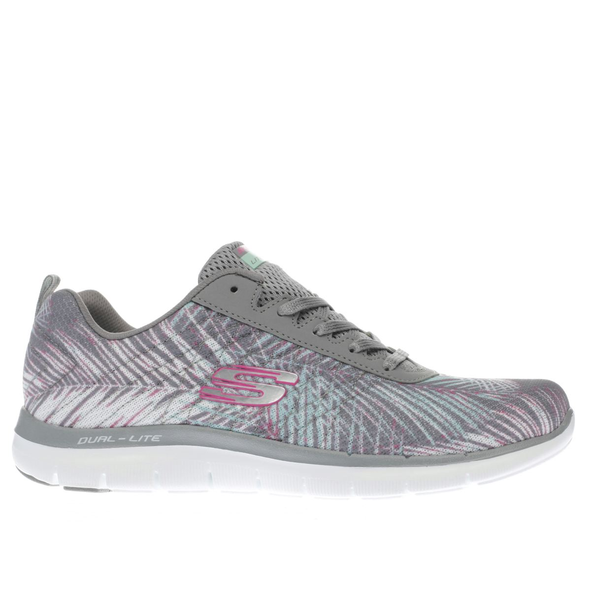 skechers grey flex appeal 2.0 tropical trainers
