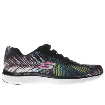 SKECHERS BLACK & PURPLE FLEX APPEAL 2.0 TROPICAL TRAINERS